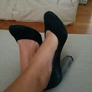 French Connection black suede pumps